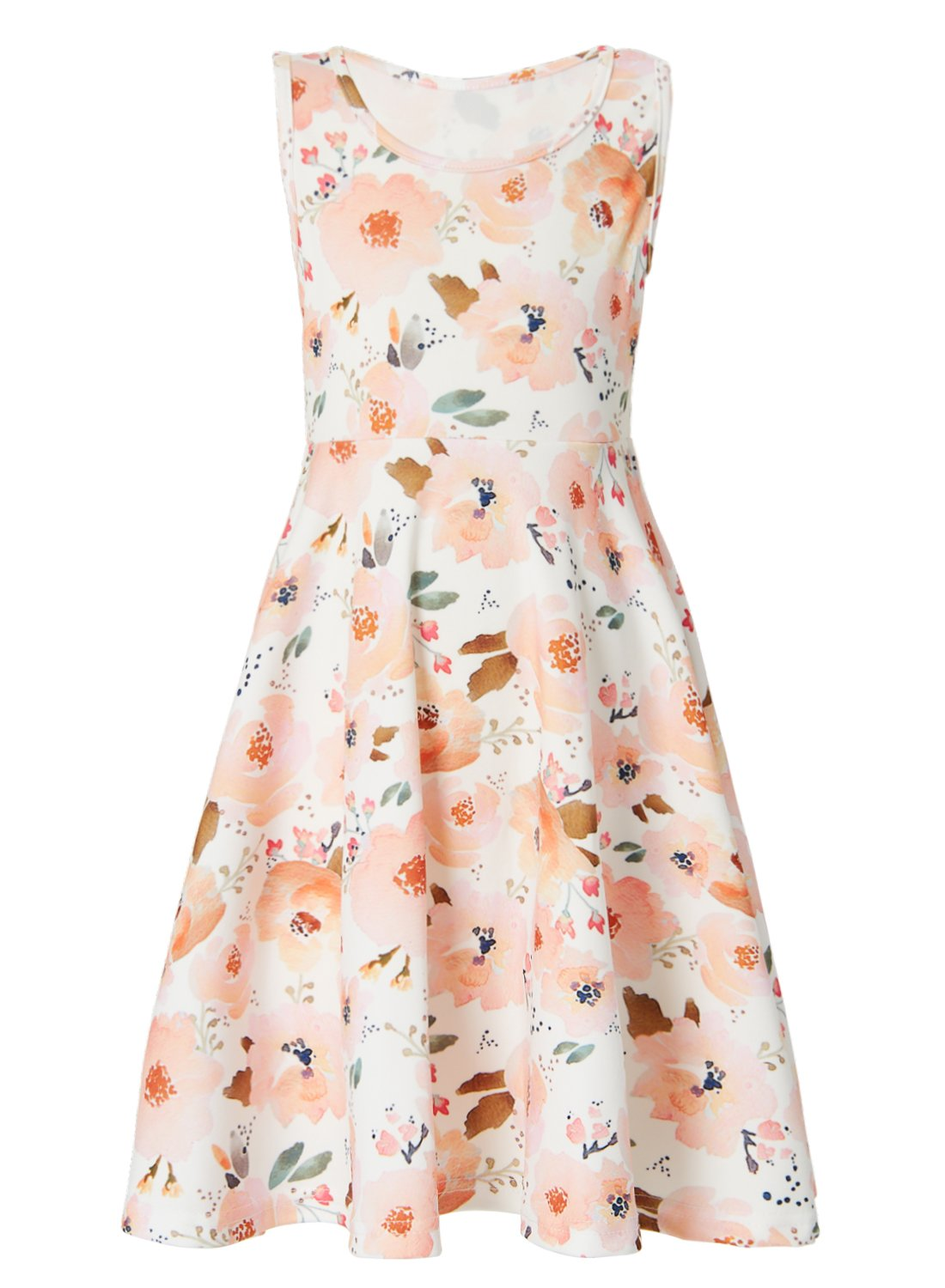 Leapparel Girls Vintage Floral Print Dress Pink Flowers Pattern Autumn Sleeveless White Pink Sundress for 8-9T Kids