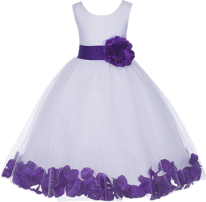 ekidsbridal White Floral Rose Petals Flower Girl Dress Birthday Girl Dress Junior Flower Girl Dresses 302s