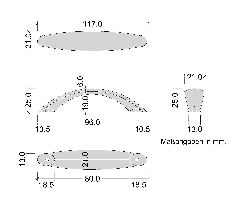 Gedotec Bogengriff K/üche M/öbelgriff Edelstahl K/üchengriffe 96 mm 1 St/ück GR10000 Moderner Schrankgriff mit Schrauben Bohrabstand 96 mm Schubladengriffe aus Metall Design-Griff gebogen