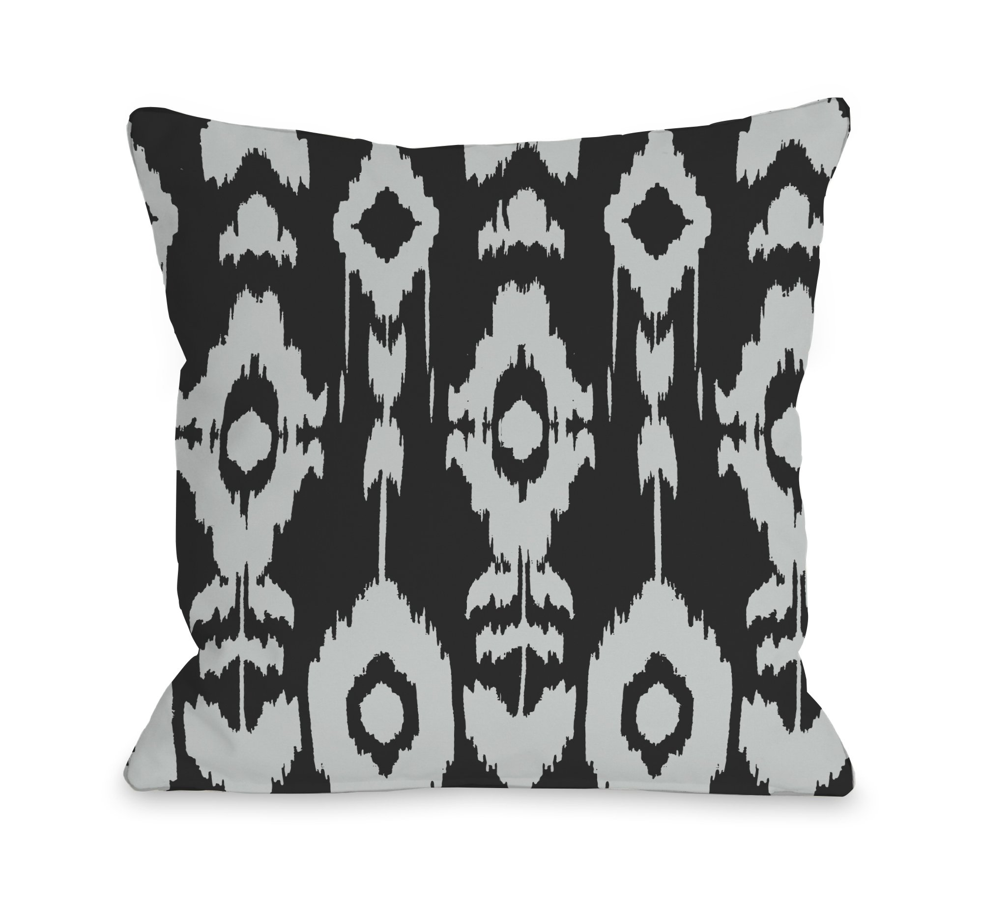 One Bella Casa Forever Ikat Pillow Outdoor, 16 by 16-Inch, Dark Gray/Light Gray by One Bella Casa