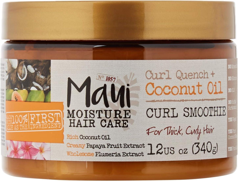 Maui Moisture Vegan Aceite de coco Aloe Vera Máscara de pelo Smoothie para cabello rizado 340 g