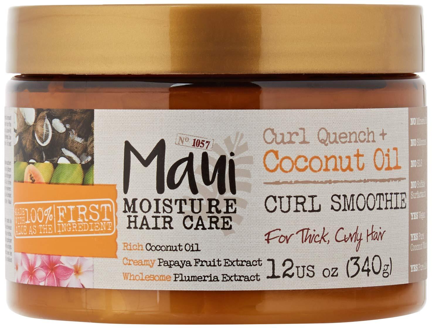 Maui Moisture Vegan Coconut Oil Aloe Vera Hair Mask Smoothie for Curly Frizzy Hair 340 g