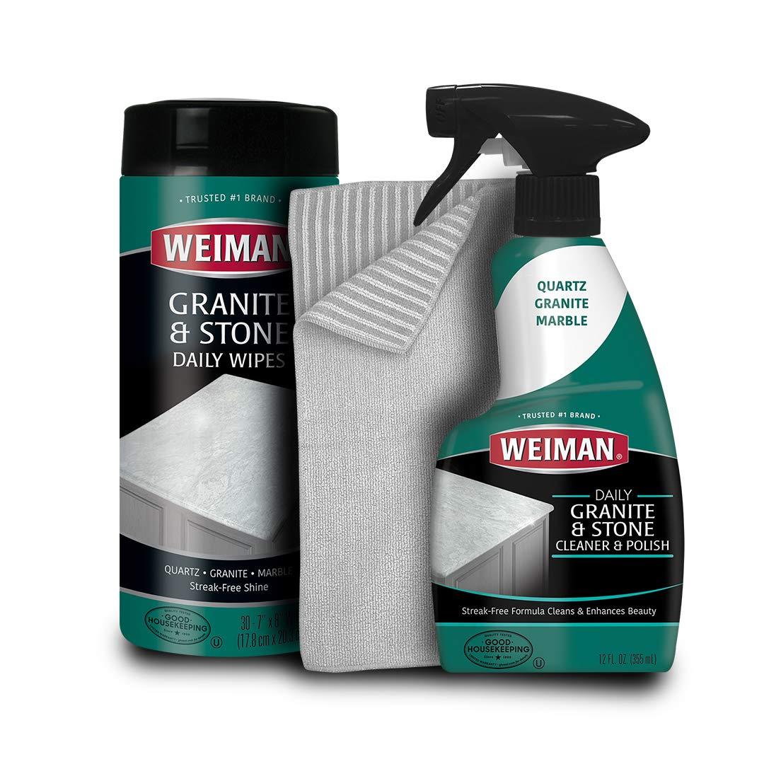Weiman Granite Cleaner Kit - Non Toxic For Granite Marble Soapstone Quartz Quartzite Slate Limestone Corian Laminate Tile Countertop