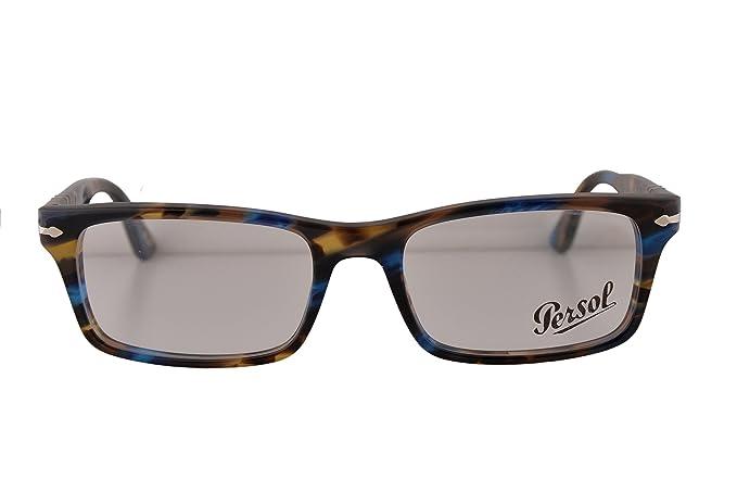 0462a87548d96 Persol PO3050V Eyeglasses 55-18-145 Light Havana Striped Blue 973 ...
