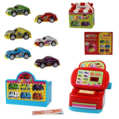P&F Pretend Play Dream Carplay Dealer Store Shop with Mini Cash Register, 6 Toy Cars & Accessories: Toys & Games