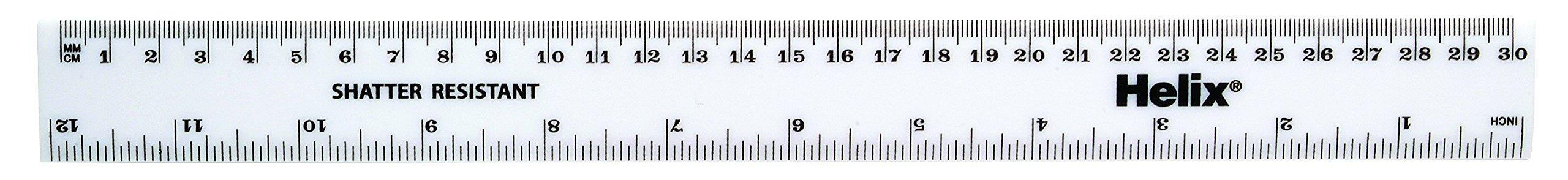 Helix 30cm 300 mm Metric Ruler White (Box of 100)