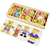 Lewo Wooden Girls Toys Bear Family Dress Up Puzzle Games for Kids with Storage Case