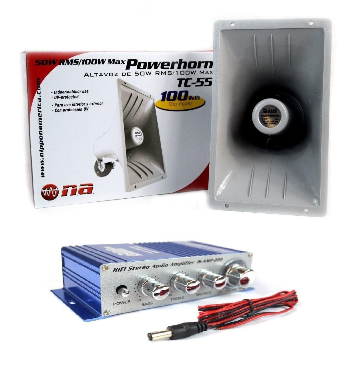 PA Power Horn Speaker 100 Watt Indoor Outdoor 100W w Hifi Stereo Audio Amplifier