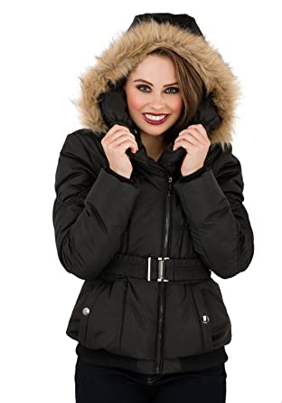 Womens Black Padded Short Parka Coat Faux Fur Trim Warm Jacket ...