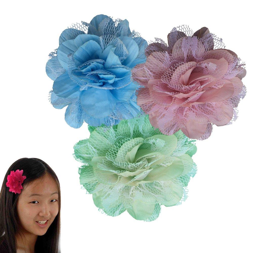 Peony Flower Hair Clip - Girl TruStay Clip - Best NO Slip Barrette For Fine Hair (Pack2-Pink/Cream/Blue)