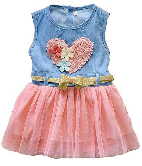 f2f0e584e Amazon.com  Baby Girl Tutu Denim Dress Short Sleeve Lace Princess ...