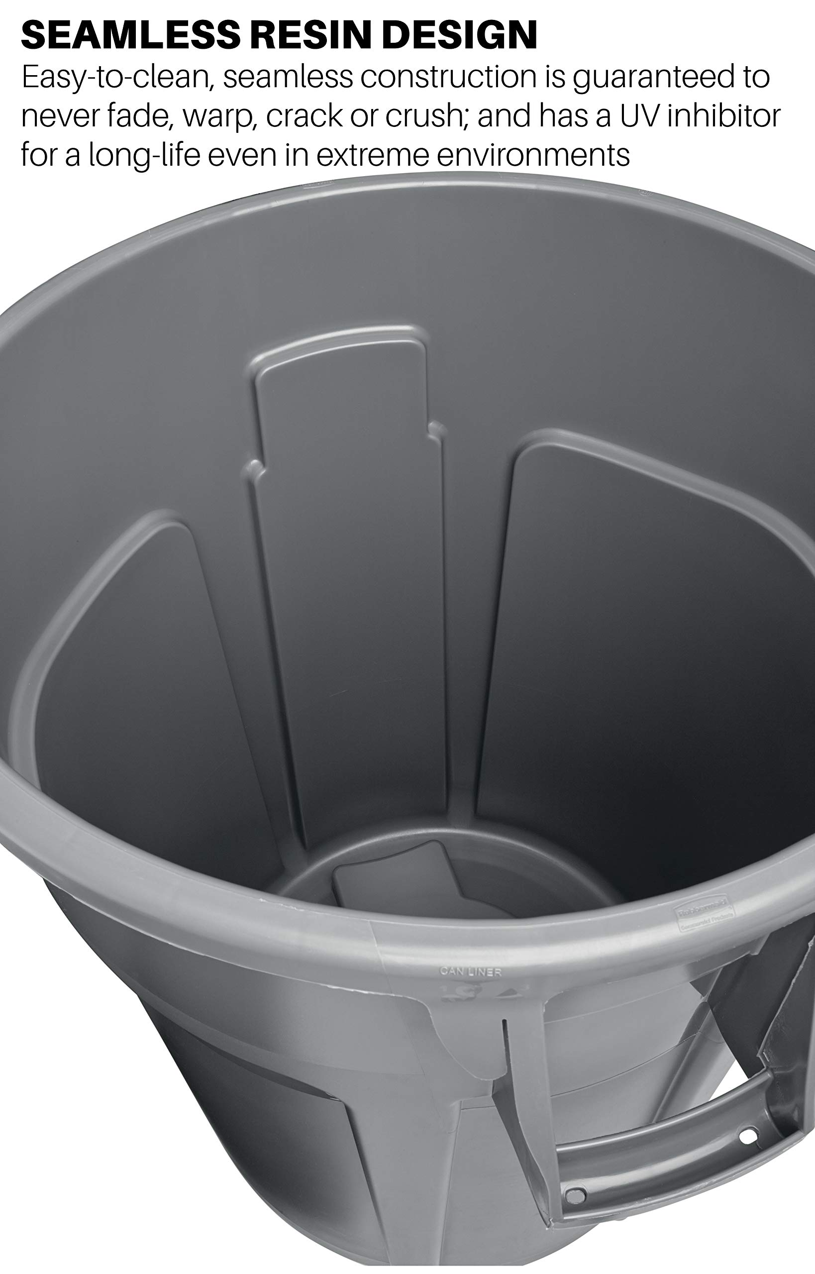 Rubbermaid Commercial Products FG264360GRAY BRUTE Heavy-Duty Round Trash/Garbage Can, 44-Gallon, Gray by Rubbermaid Commercial Products (Image #3)