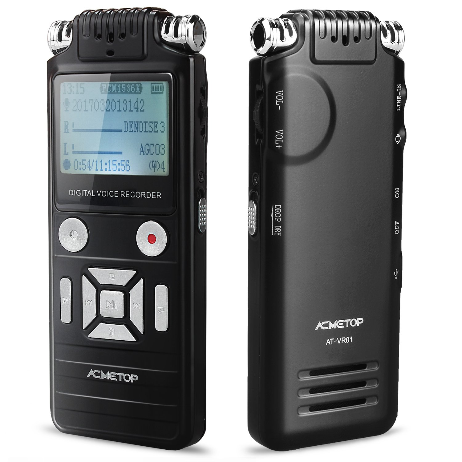 ACMETOP Digital Voice Recorder Dictaphone MP3 Player, Dual Microphone HD  Recording / 8GB / Voice Activated Control