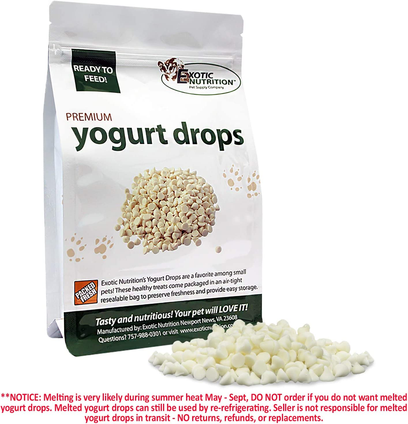 Exotic Nutrition Yogurt Drops – All Natural Healthy Yogurt Treat – for Sugar Gliders, Prairie Dogs, Monkeys, Squirrels, Guinea Pigs, Rabbits, Chinchillas, Rats, Marmosets, Degus Other Small Pets