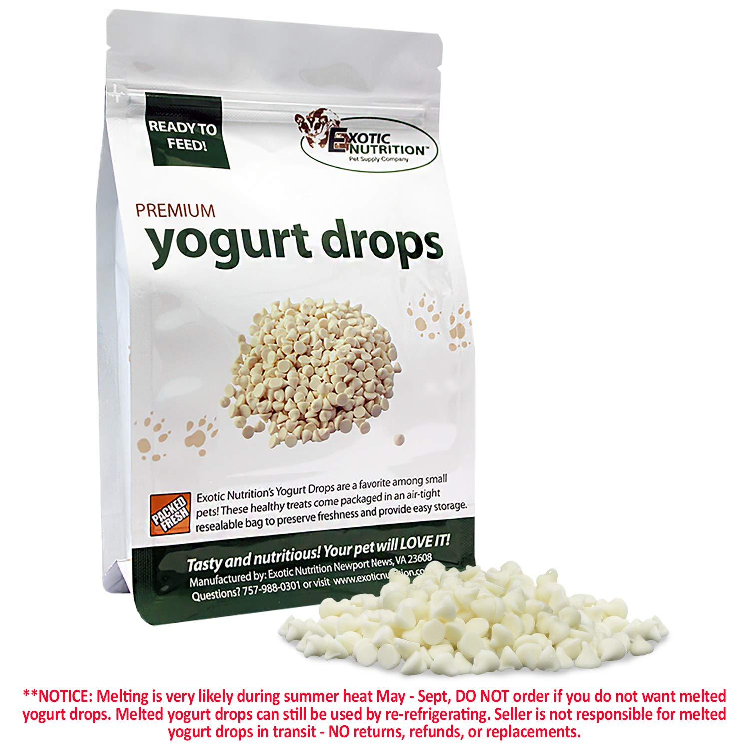 Yogurt Drops (12 oz.) - All Natural Healthy Yogurt Treat - For Sugar Gliders, Prairie Dogs, Monkeys, Squirrels, Guinea Pigs, Rabbits, Chinchillas, Rats, Marmosets, Degus & Other Small Pets by Exotic Nutrition