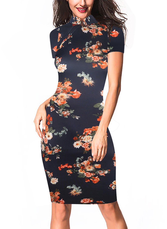 oxiuly Women's Retro Print Stretch Short Sleeve Stand Collar Sheath Dress OX183 (M, Dark Blue)