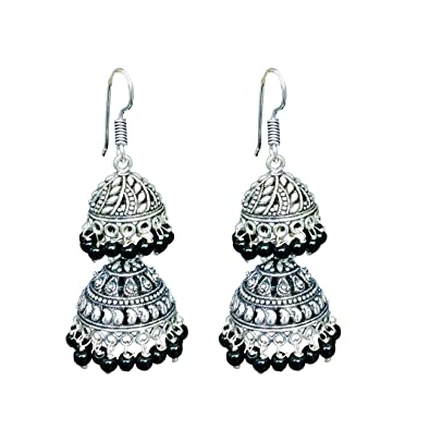 3f5f7ea87 Buy Elegant Designs Women Black Oxidized Silver Jhumki Earrings for Women  And Girls Fashion Online at Low Prices in India | Amazon Jewellery Store -  Amazon. ...