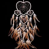 heart shaped dream catcher with feathers car or wall hanging 5sc with a. Black Bedroom Furniture Sets. Home Design Ideas