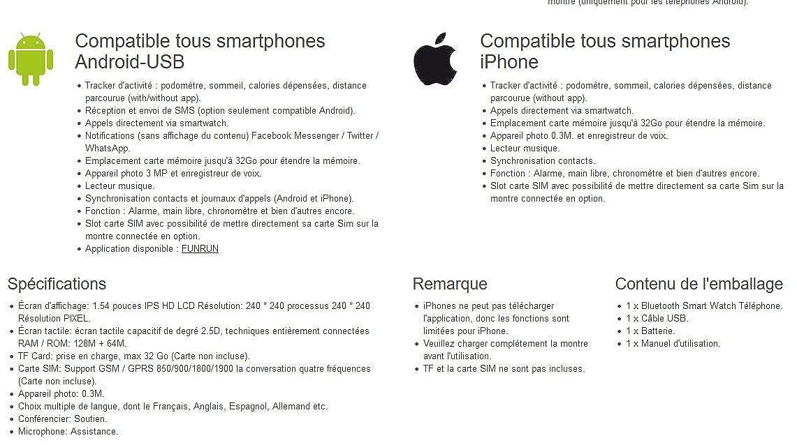 Shop Story - Smartwatch Reloj Inteligente Compatible Todos Smartphones Android y iPhone - Version negro: Amazon.es: Relojes