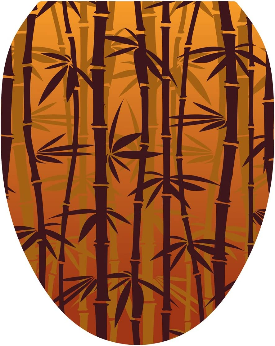 Toilet Tattoos, Toilet Seat Cover Decal,Bronzed Bamboo, Size Elongated