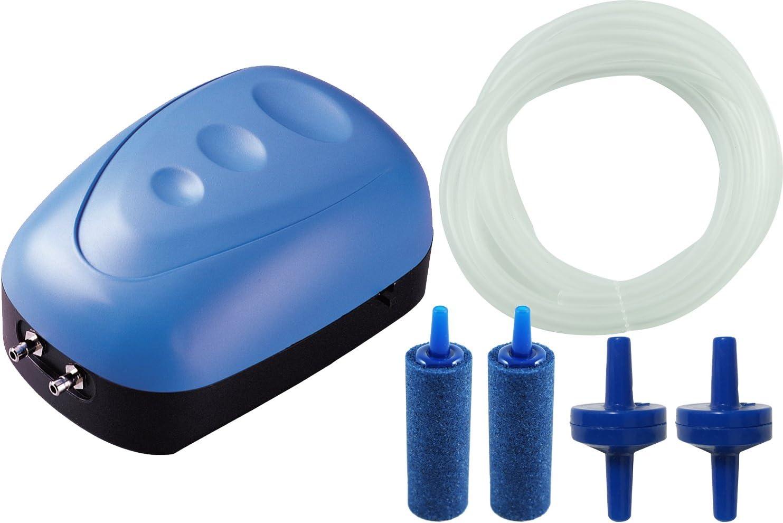 BPS Bomba de Aire, Oxigenador Compresor de una Unica Salida Con 1x Manguera , 2x Valvulas de retención y 2x Difusor de Aire BPS-6030