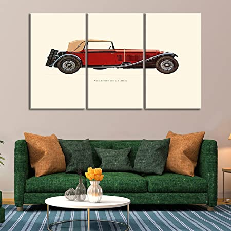 FESTAPRINT Extra Large Wall Art Printing For Home Decor Red Alfa Romeo 1930 Car 3D Material Cotton Canvas Modern Prints With Frame Amazoncouk