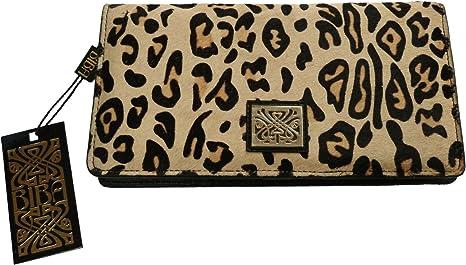Cartera de viaje de piel color negro y de pelo de caballo de leopardo Biba –