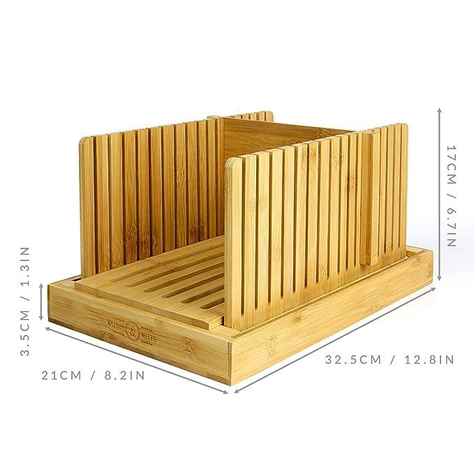 Compra Maison & White Cortadora de pan de bambú | Tabla y guía de cortar | Ajustable, plegable, compacta | Adecuado para panes caseros o comprados en ...