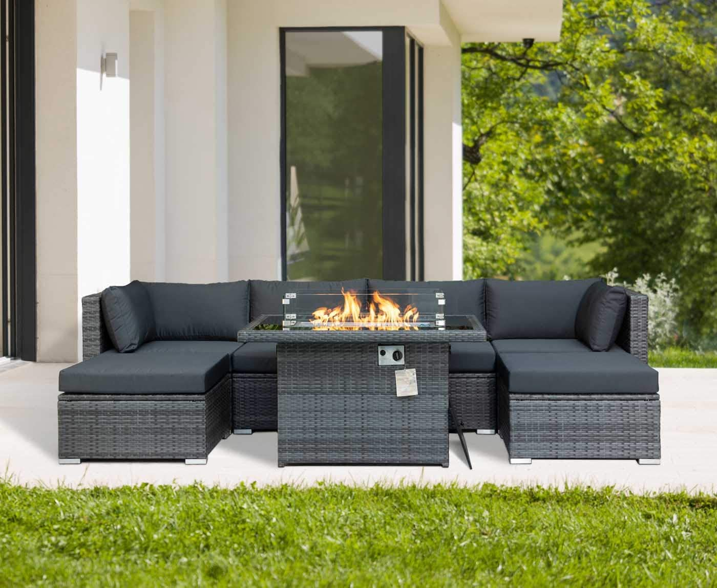 Modern Patio Furnitures Outdoor Sectional PE Wicker Sofa Sets with Waterproof Steel Frame & Thicken Charcoal Cushions & CSA Aproved Aluminum Propane Fire Pit Table 55000 BTU (Wicker Gray-7 Pcs)