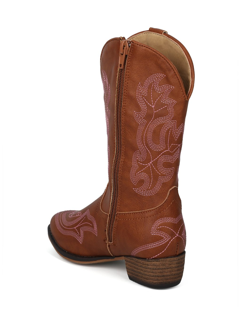 Alrisco Girls Leatherette Embroidered Tall Cowboy Boot HG02 - Tan Leatherette (Size: Little Kid 1) by Alrisco (Image #2)