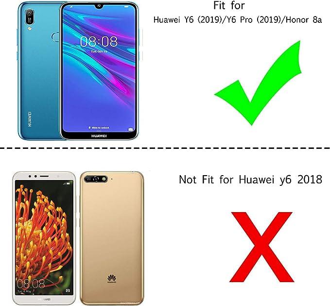 NBKASE Coque Huawei Y6 2019 // Huawei Honor 8A Marron avec Fentes de la Carte Premium Ultra Fine PU Cuir de Protection Flip Portefeuille /Étui Housse pour Huawei Y6 2019 // Huawei Honor 8A