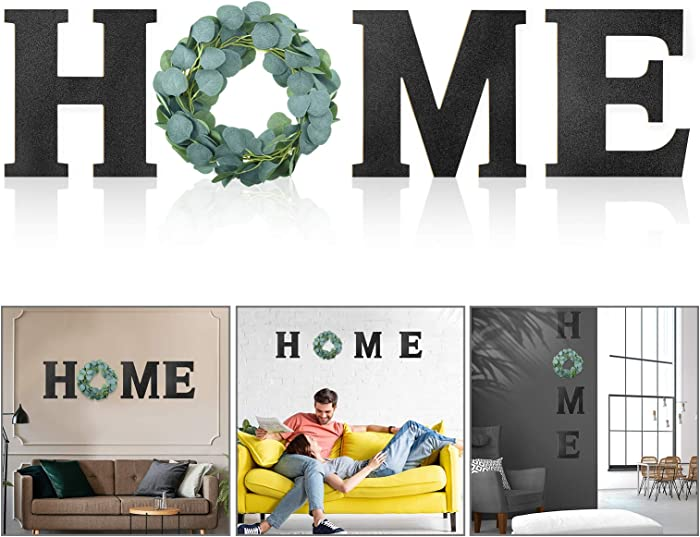 Wooden Home Sign Decorative Wooden Letters with Wreath Rustic Wall Hanging Wooden Home Sign Wall Decor Signs with Artificial Eucalyptus for Home Decor Living Room House, 9.8 x 8.5 Inch (Black)