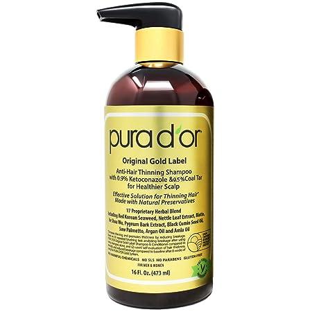 PURA D OR Anti-Hair Thinning Shampoo w 0.9 KETO-CONAZOLE 0.5 Coal Tar, Biotin Shampoo for Thinning Hair and Healthier Scalp – Sulfate Free, Men Women, 16 Fl Oz Packaging May Vary