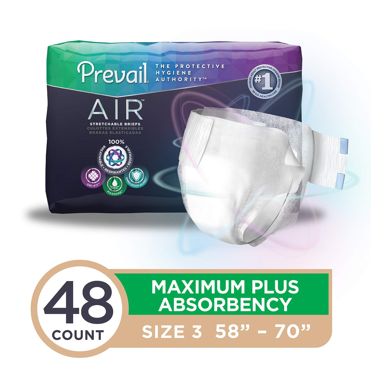 Amazon.com: Prevail Air Maximum Plus Absorbency Stretchable Incontinence Briefs/Adult Diapers Size 3 - 48 Count Breathable Rapid Absorption Discreet Comfort ...