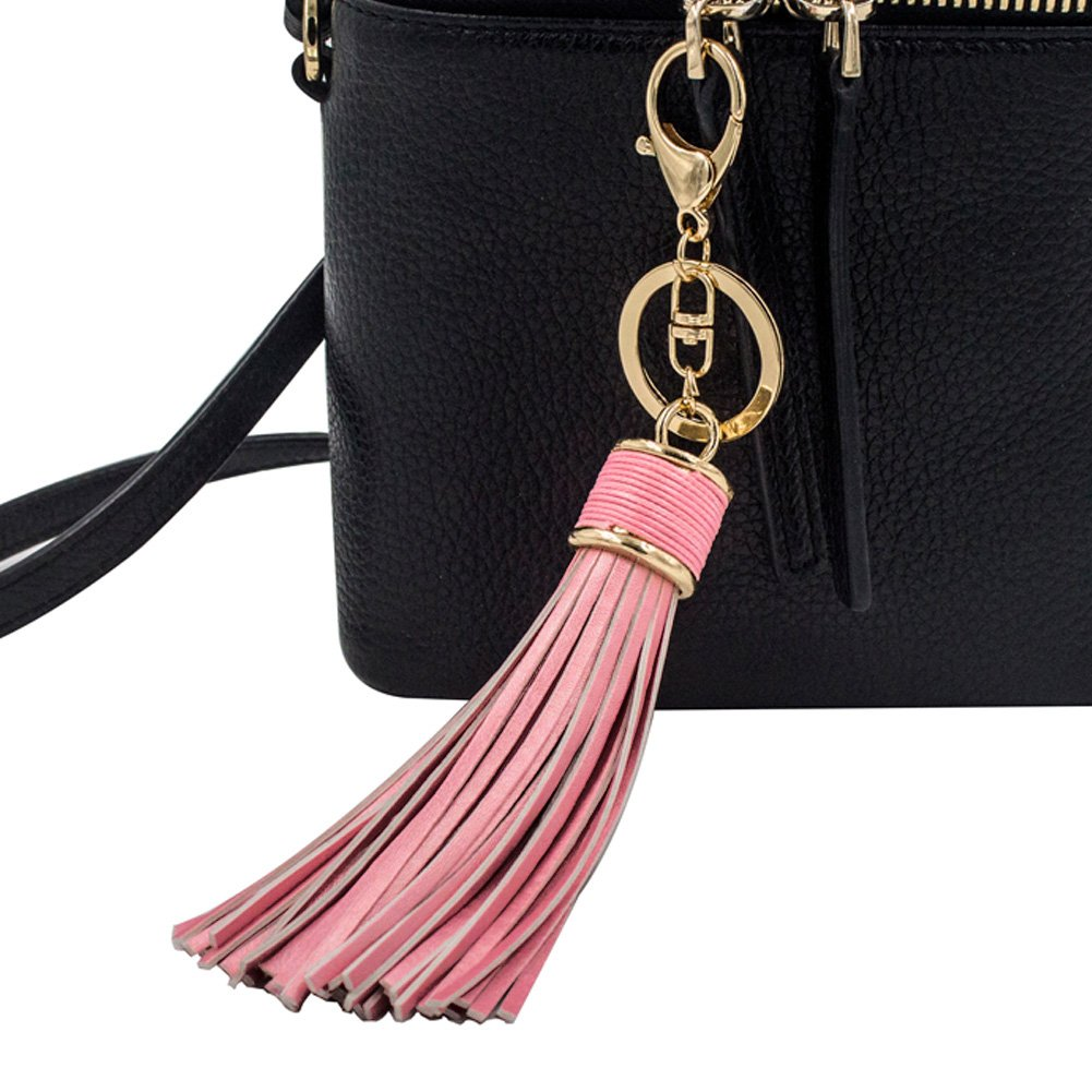 Pink Boseen Leather Tassel Pendants Charm Key Chains for Womenss Wallet or Handbag or Car Circle Key Rings Accessory