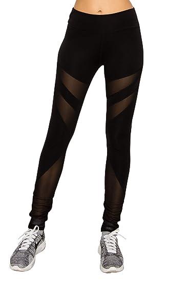 d718579e0593e9 EttelLut Workout Yoga Athletic Mesh Black Leggings for Women Cutout Gym  Zumba Women Activewear P2 Black