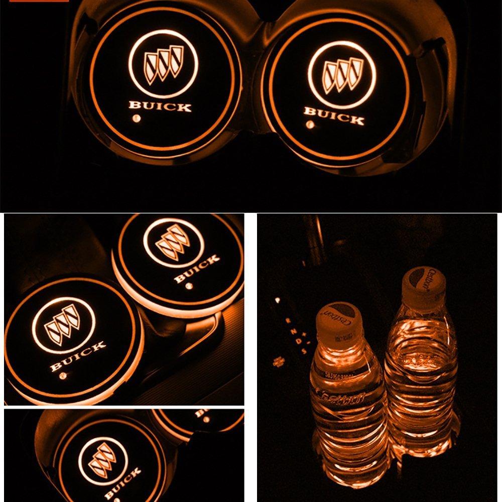 JIanna LED coche Logo Cup Holder Pad 7/colores cambiantes alfombrilla de carga USB LED Copa Mat coche atm/ósfera l/ámpara decoraci/ón luces 2PCS