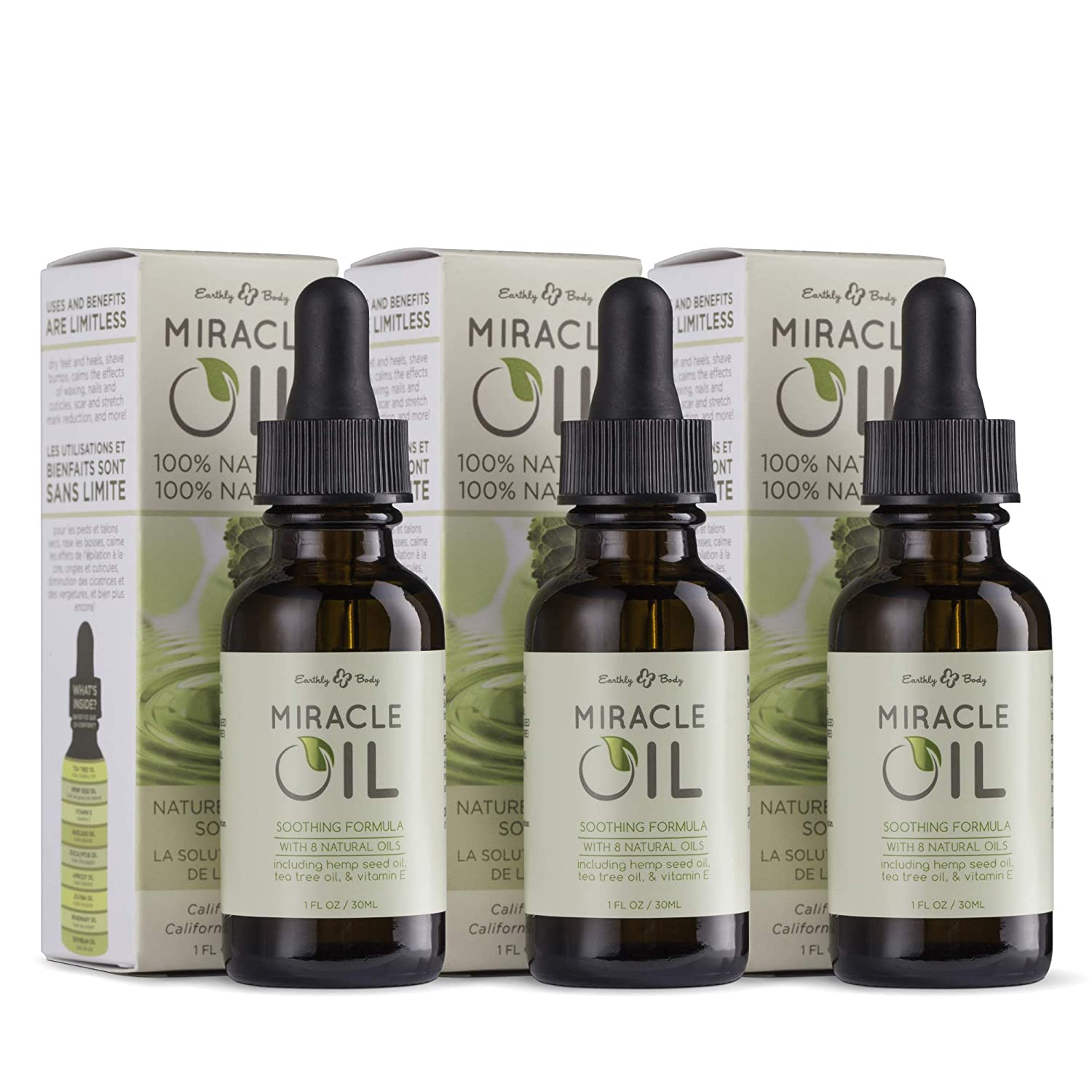 Earthly Body Miracle Oil, 1 fl. oz. - 3 Pack - 100% Natural Tea Tree Oil, Hemp Seed Oil & Vitamin E - Moisturizer, Calms Skin Irritations, Helps Smooth Wrinkles - Gluten Free, 100% Vegan