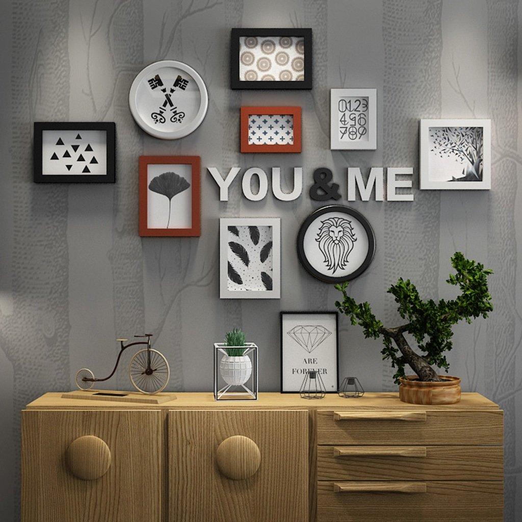 Cadre Photo organiser mur salon panneau cré atif en bois-plastique cadre dé coration murale combiné e (Couleur : Multicolore) wen hui shop