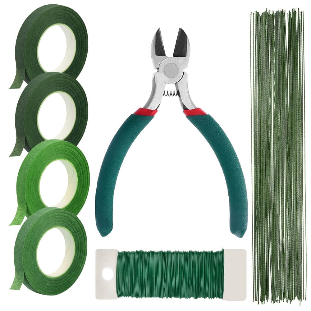 Paxcoo Floral Stem Arrangement Tools Kit with Wire Cutter Green Floral Tapes 26 Gauge Stem Wire and 22 Gauge Paddle Wire for Bouquet Stem Wrap Florist by PAXCOO