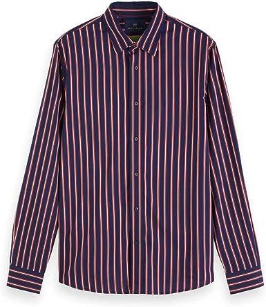 Scotch & Soda Slim Fit-Varsity Stripe Shirt Camisa para Hombre: Amazon.es: Ropa y accesorios