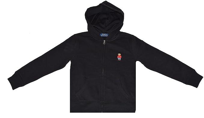 4a603e875 Polo Ralph Lauren Boys Cotton Zip up Bear Logo Hoodie  Black