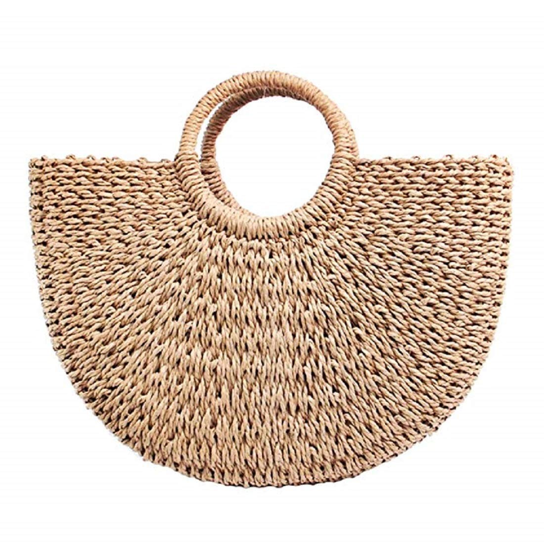 Meeto Hand-woven Straw Large Hobo Bag for Women Round Handle Ring Toto Retro Summer Beach