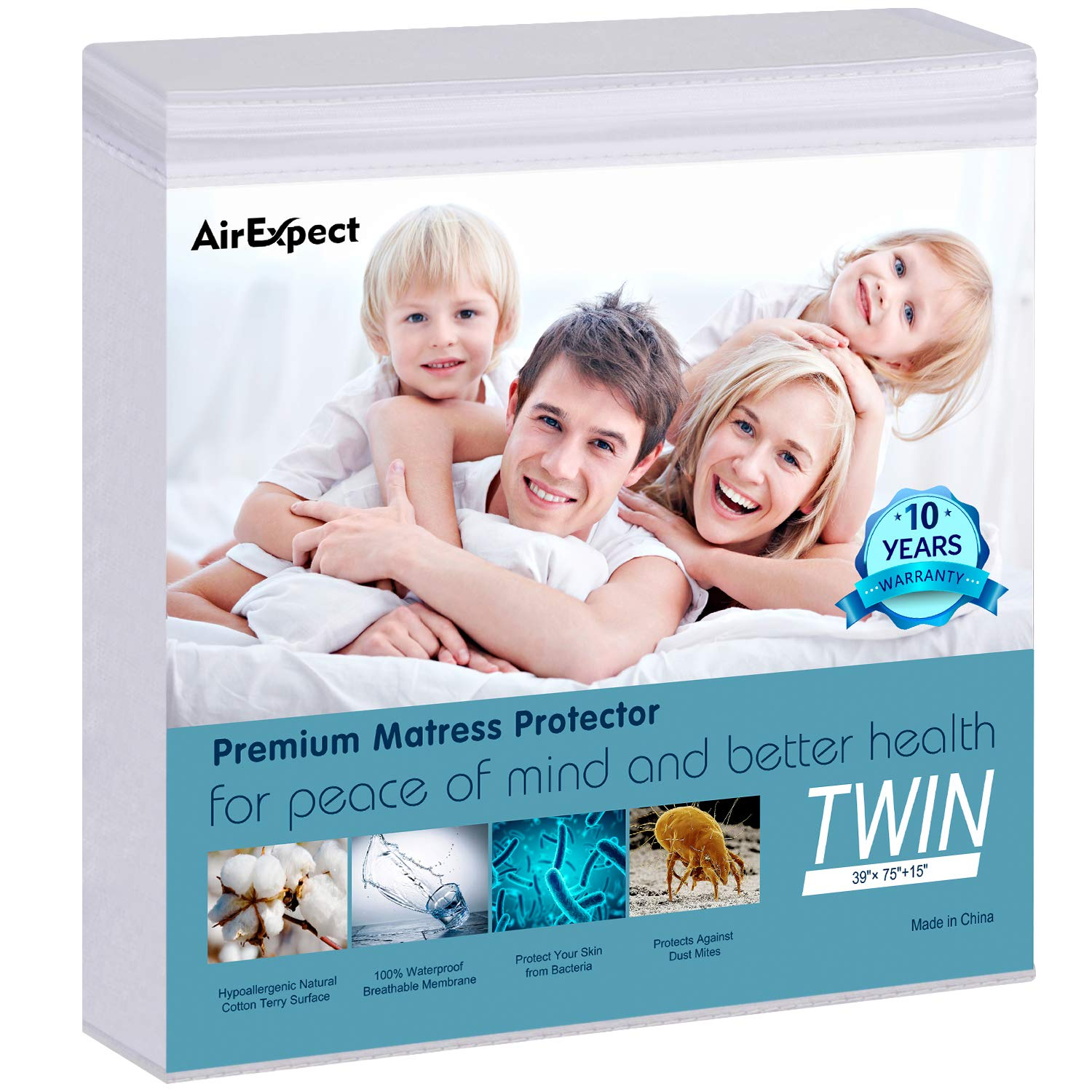"AirExpect Waterproof Mattress Protector Twin Size - AirExpect 100% Organic Cotton Hypoallergenic Breathable Mattress Pad Cover,18"" Deep Pocket, Vinyl Free - 39""x75"""