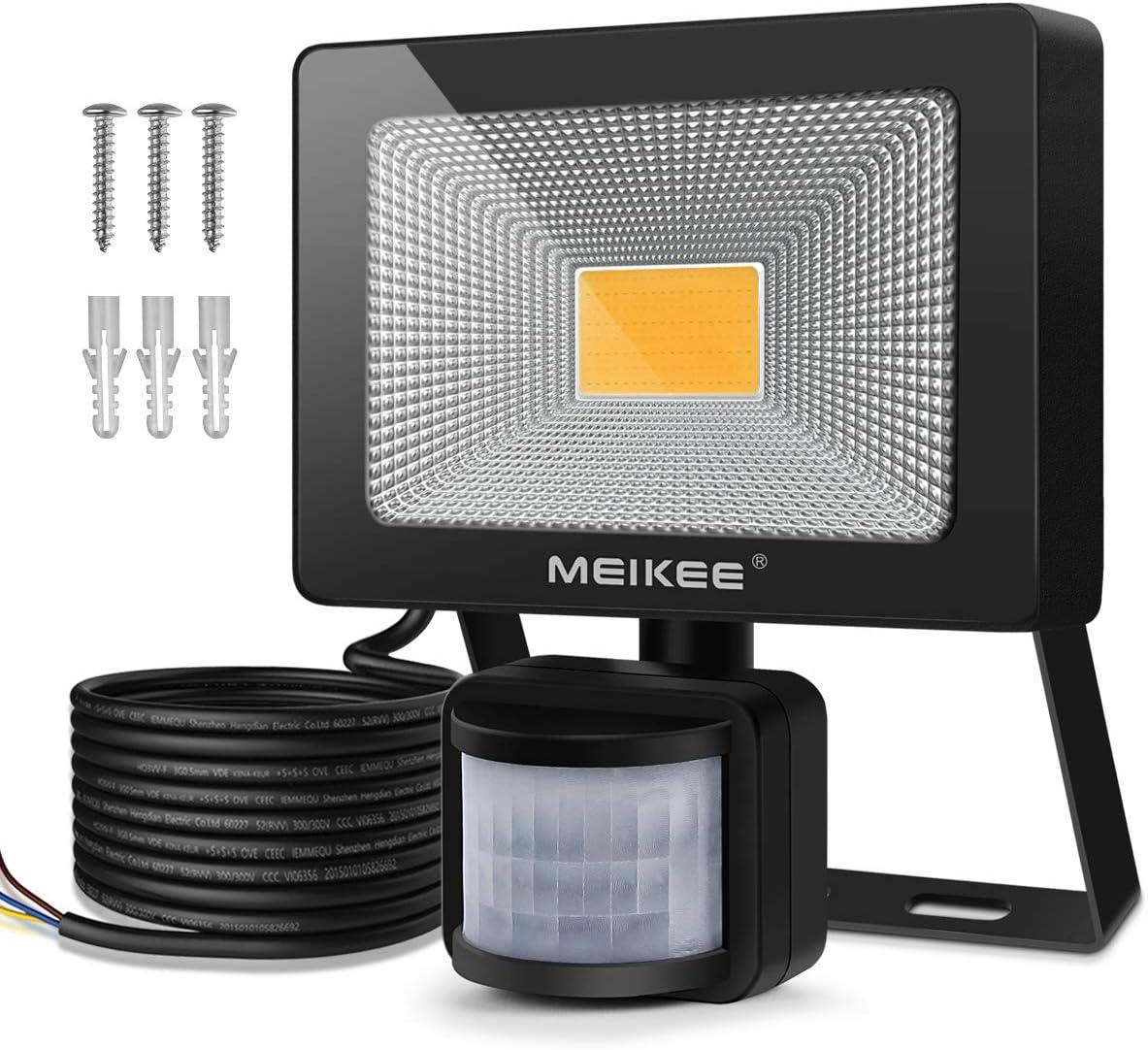 MEIKEE 20W Foco LED con Sensor Movimiento de 1800LM, Proyector LED exterior de 3000k con detector PIR de IP66 Impermeable, Iluminación de Exterior y Seguridad para patio