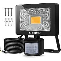 MEIKEE Foco LED con Sensor Movimiento, 20W Foco Proyector LED Exterior 1800lm con Detector, IP66 Impermeable, Iluminación Seguridad de Exterior para Patio Garage Jardin- Blanco Cálido(3000k)