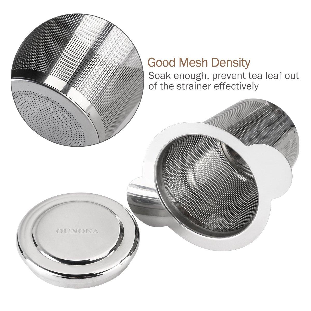 OUNONA 304 Stainless Steel Tea Strainer Mesh Tea Infuser with Lid for Loose Leaf Grain Tea Cups