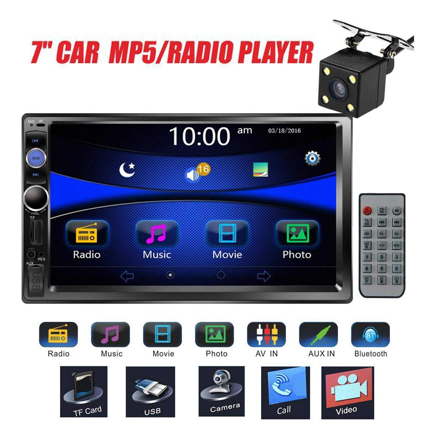 Regetek Car Stereo Double Din 7'' Touchscreen in Dash Stereo Car Audio Video Player Bluetooth FM AM Radio Mp3 /TF/USB/AUX-in/Subwoofer/Steering Wheel Controls + Remote Control+Rear View Camera by Regetek