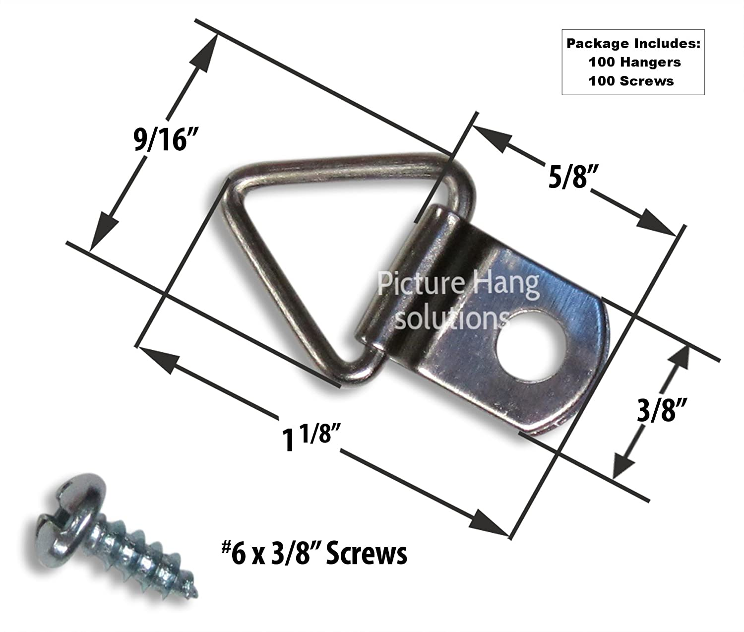 Frame triangle ring hanger small d ring picture hanger with frame triangle ring hanger small d ring picture hanger with screws 100 pack picture hang solutions amazon jeuxipadfo Gallery