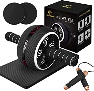 Ab Roller Wheel, Pathonor Abs Roller Wheel Kit with Core Sliders, Knee Mat, Jump Rope, Gym Equipment for Home Men Women Core Strength Abdominal Exercise